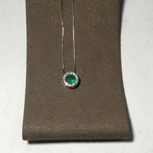 Jewelry - 14 karat white gold diamond and emerald pendant